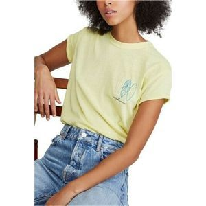 Free People Lime Green Wipe Out Graphic Tee